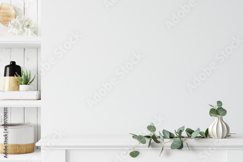 Wall mockup. Coastal Scandinavian interior style. 3d rendering, 3d illustration