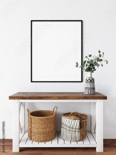 Frame mockup. Coastal Scandinavian interior style. 3d rendering, 3d illustration Fotomurales