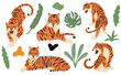 Cute animal object collection with leopard,tiger. illustration for icon,logo,sticker,printable