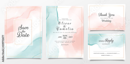 Foto Peach and blue watercolor wedding invitation card template set with gold line decoration