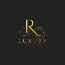 R Luxury Letter Logo Design Vector