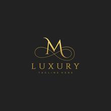 M Luxury Letter Logo Design Vector