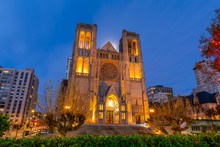 Grace Cathedral At Twilight