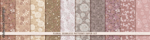 Floral seamless sepia pattern set. Flowers and leaves.. Color vector background. Summer and spring print