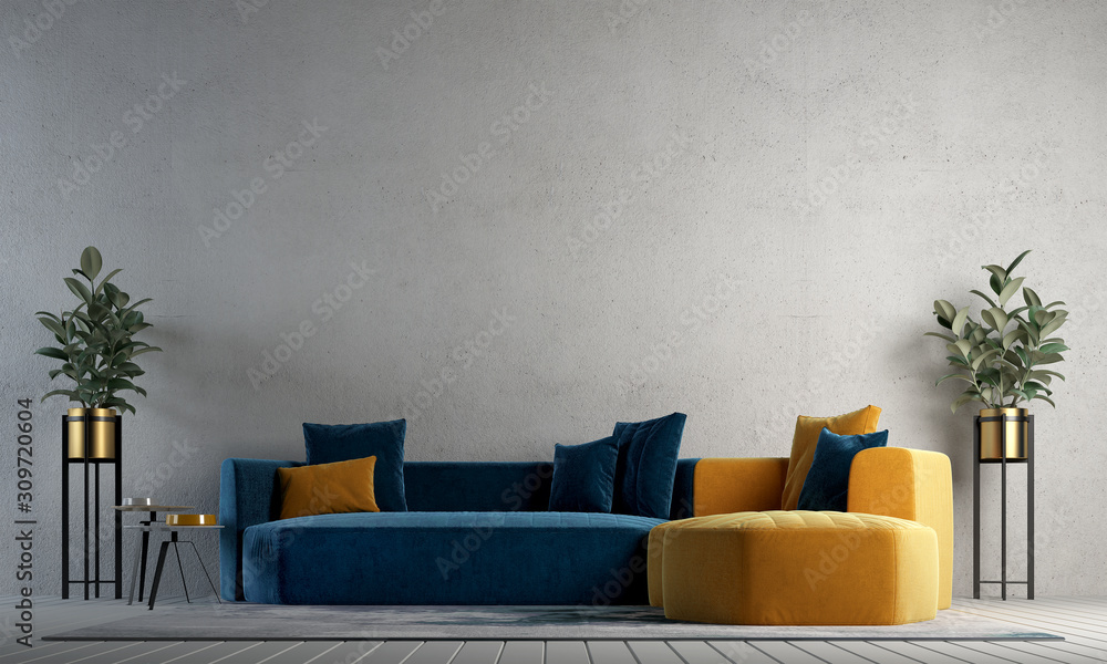 Fototapeta Modern cozy interior design of living room and concrete wall texture background