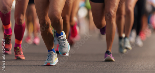 Obraz Marathon running race, people feet on city road - fototapety do salonu