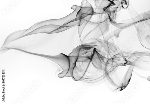 Fotografie, Obraz Abstract black smoke on white background, fire design