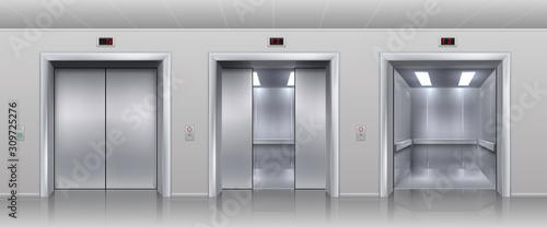 Fototapeta Realistic elevators. Closed open and half closed metallic cabin doors of passenger and cargo lift or indicator. Vector interior with metal doors, steel open and closing lifts in corridor obraz