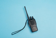 Walkie-talkie Isolated On Blue...