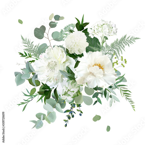 Платно Silver sage green and white flowers vector design spring herbal bouquet
