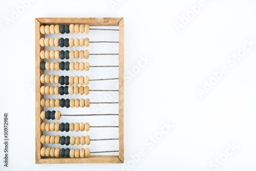 vintage wooden abacus on a white background with copy space Canvas Print