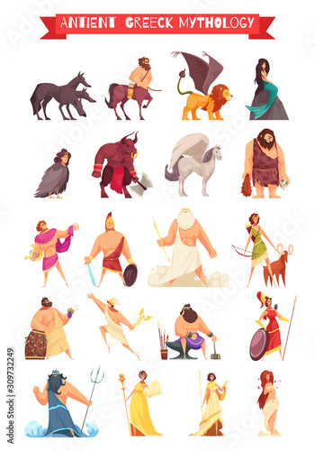 Greek Gods Mythical Creatures Set Fototapete