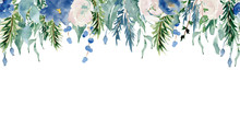 Floral Winter Seamless Border ...