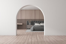 Wooden Bedroom Interior With Arch
