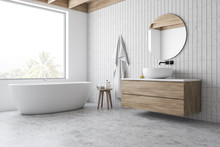 Loft White Tile Bathroom Corne...