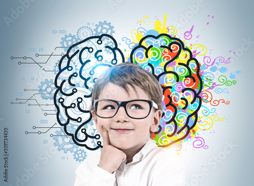 Thoughtful little boy, left and right brain Canvas