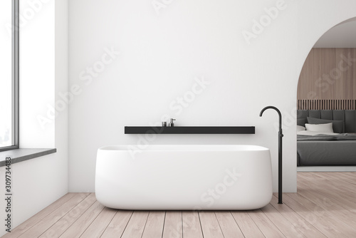 White bathroom and bedroom interior Fototapeta