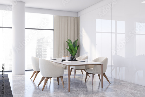 Luxury white panel dining room corner Fototapet