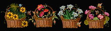 Embroidery. Collection Of Wicker Baskets With Flowers. Lilies, Sunflowers, Poppies. Fashion Template For Clothes, Textiles