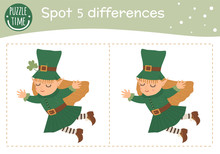 Saint Patrick's Day Find Differences Game For Children. Spring Holiday Festive Preschool Activity With Green Fairy. Puzzle With Cute Funny Smiling Characters..