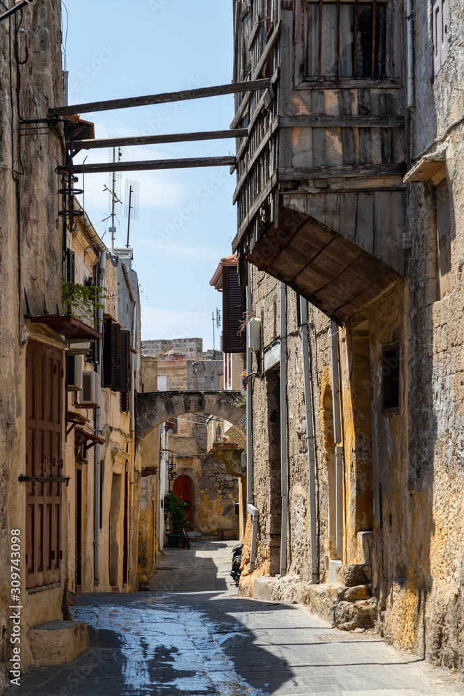Narrow alley / lane in the old town of Rhodes city