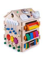 Wooden  Busy Board House - Educational Toy For Children, Babies On A White Isolated Background, Consisting Of Multi-colored Wooden Flower Puzzle Pieces, Bells, Gear, Sorter, Switches, Lamp