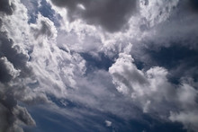 Dramatic Blue Sky With White Clouds
