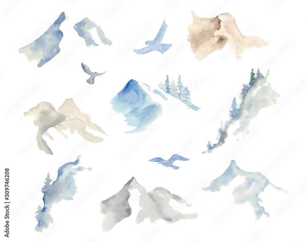 Fototapeta Watercolor mountains illustration isolated on white background