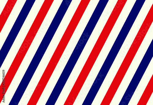 Vintage styled Barber Shop seamless pattern texture. Vector illustration image. Diagonal white, red, blue stripe background. Classic american beard, hair, barbershop sign, icon, logo, symbol template.
