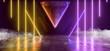 canvas print picture Smoke Fog Steam Triangle Concrete Hallway Garage Studio Night Club Room Cyber City Neon Glowing Orange Yellow Purple Phantom Violet Lasers 3D Rendering