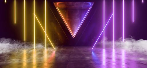 Smoke Fog Steam Triangle Concrete Hallway Garage Studio Night Club Room Cyber City Neon Glowing Orange Yellow Purple Phantom Violet Lasers 3D Rendering