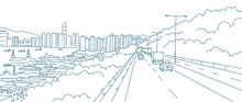 The Road To The City. Highway Landscape. Along The Coast Of The River. High-rises On The Horizon. Hand Drawn Sketch Vector Line Contour.