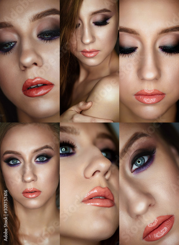 Portrait of a young woman with beautiful evening make-up on a dark background #309757616