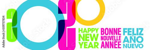Photo 2020 - Bannière graphique colorée pour souhaiter la nouvelle année - Texte anglais, français, espagnol - traduction : bonne nouvelle année