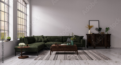 Fototapety, obrazy: Modern interior design of a living room in an apartment, house, office, comfortable sofa, fresh flowers and bright modern interior details and sunbeams white walls and windows