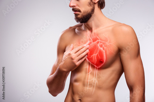 Human heart disease, healthcare and medical concept, man chest pain Canvas Print