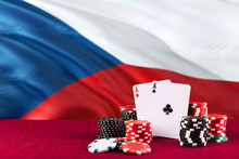 Czech Republic Casino Theme. Aces In Poker Game, Cards And Chips On Red Table With National Flag Background. Gambling And Betting.