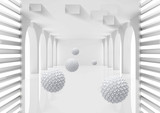 Fototapeta Do przedpokoju - 3d mural Illustration of 3D crystal ball in empty room gray rendering background