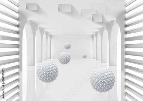 3d mural Illustration of 3D crystal ball in empty room gray rendering background