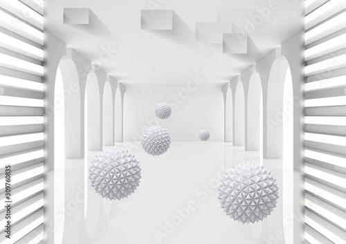 3d malowidło ścienne Ilustracja 3D kryształowa kula w pustego pokoju renderingu szarym tle