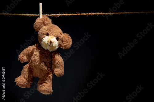 A teddy hangs on an ear, attached to a clothesline with just a clothespin. The background is black. #309762037