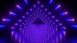 canvas print picture - 3d render, abstract neon background, performance stage, glowing violet blue lights, triangular tunnel, corridor, floor reflection