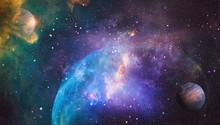Fiery Explosion In Space. Purp...