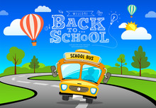 Vector Back To School Bus On R...