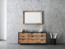 Horizontal Wooden Frame Mockup Hanging On Concrete Wall In Modern Living Room Above Commode
