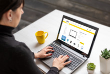 Woman Shopping Online With Laptop Computer From Home. Modern Flat Design E-commerce Web Site With Technology Products