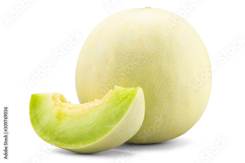 Fotografie, Obraz Fresh honey dew or melon slice fruit isolated on white background with clipping