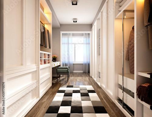 3d render of luxury home wardrobe Poster Mural XXL