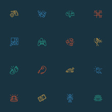 Games Icons Line Style Set Wit...