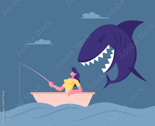 Businesswoman Catching Fish Sit in Boat with Fishing Rod in Sea Wallpaper Mural